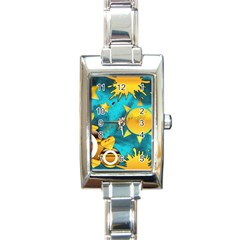 Gold Music Clef Star Dove Harmony Rectangle Italian Charm Watch