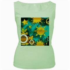 Gold Music Clef Star Dove Harmony Women s Green Tank Top