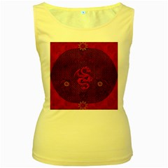 Awesome Chinese Dragon, Red Colors Women s Yellow Tank Top by FantasyWorld7