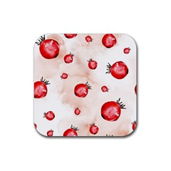Watercolor Autumn Garden Rubber Square Coaster (4 Pack)  by tarastyle