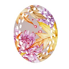 Watercolor Autumn Garden Ornament (oval Filigree) by tarastyle
