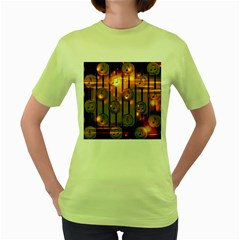 Music Notes Sound Musical Audio Women s Green T Shirt