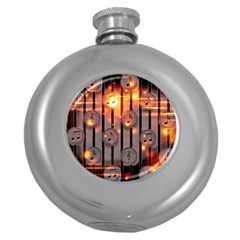 Music Notes Sound Musical Audio Round Hip Flask (5 Oz)