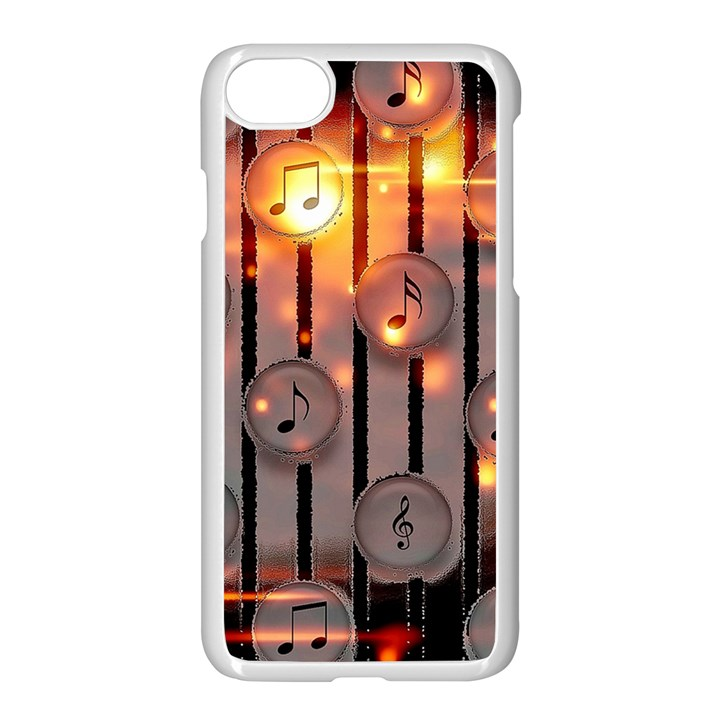 Music Notes Sound Musical Audio iPhone 8 Seamless Case (White)