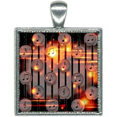 Music Notes Sound Musical Audio Square Necklace