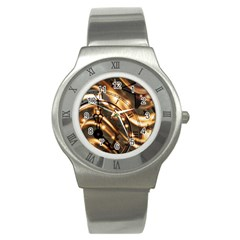 Time Clock Star Hour Day Night Stainless Steel Watch