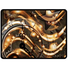 Time Clock Star Hour Day Night Fleece Blanket (large)