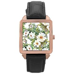 White Flowers Paint Rose Gold Leather Watch