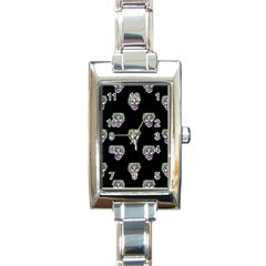Creepy Zombies Motif Pattern Illustration Rectangle Italian Charm Watch