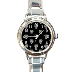 Creepy Zombies Motif Pattern Illustration Round Italian Charm Watch