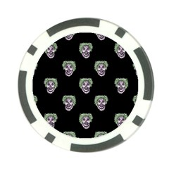 Creepy Zombies Motif Pattern Illustration Poker Chip Card Guard