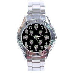 Creepy Zombies Motif Pattern Illustration Stainless Steel Analogue Watch by dflcprintsclothing