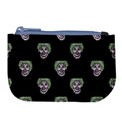 Creepy Zombies Motif Pattern Illustration Large Coin Purse
