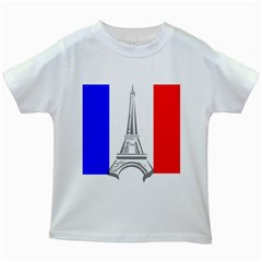 Eiffel Tower France Flag Tower Kids White T-shirts by Sudhe
