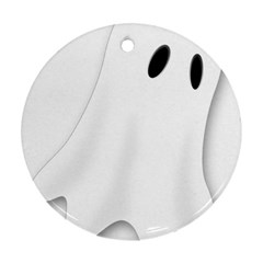 Ghost Boo Halloween Spooky Haunted Round Ornament (two Sides) by Sudhe