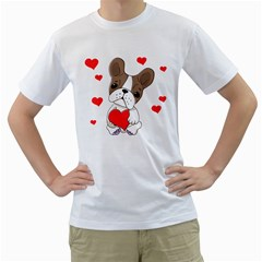 Animation Dog Cute Animate Comic Men s T Shirt (white) (two Sided)