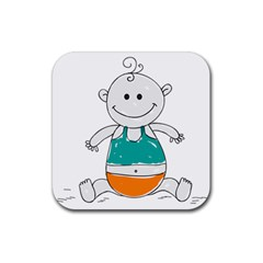 Baby Cute Child Birth Happy Rubber Coaster (square)  by Sudhe