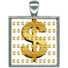 Dollar Money Gold Finance Sign Square Necklace