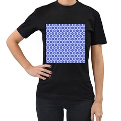 Hexagonal Pattern Unidirectional Blue Women s T-shirt (black) (two Sided)