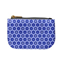 Hexagonal Pattern Unidirectional Blue Mini Coin Purse