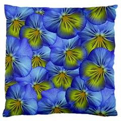 Flowers Pansy Background Purple Large Flano Cushion Case (one Side)