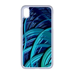 Oceanic Fractal Turquoise Blue Iphone Xr Seamless Case (white)