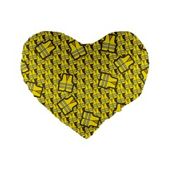 Gilet Jaune Pattern Yellowvests Cowcow Gilet Jaune Pattern Funny Yellow Vests Standard 16  Premium Heart Shape Cushions by snek