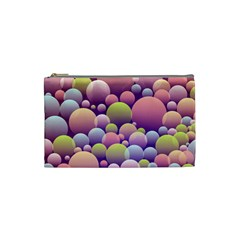Abstract Background Circle Bubbles Cosmetic Bag (small) by AnjaniArt