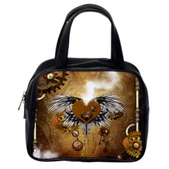 Wonderful Steampunk Heart With Wings, Clocks And Gears Classic Handbag (one Side) by FantasyWorld7