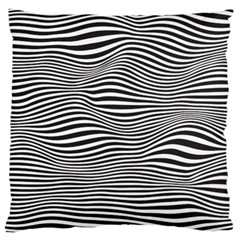 Retro Psychedelic Waves Pattern 80s Black And White Large Flano Cushion Case (two Sides) by genx