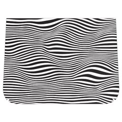 Retro Psychedelic Waves Pattern 80s Black And White Buckle Messenger Bag