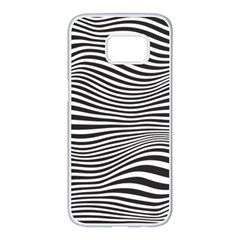 Retro Psychedelic Waves Pattern 80s Black And White Samsung Galaxy S7 Edge White Seamless Case by genx