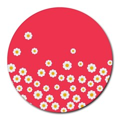 Flowers White Daisies Pattern Red Background Flowers White Daisies Pattern Red Bottom Round Mousepads by genx