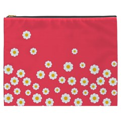 Flowers White Daisies Pattern Red Background Flowers White Daisies Pattern Red Bottom Cosmetic Bag (xxxl) by genx