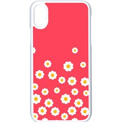 Flowers White Daisies Pattern Red Background Flowers White Daisies Pattern Red Bottom Iphone Xs Seamless Case (white)