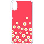 Flowers White Daisies Pattern Red Background Flowers White Daisies Pattern Red Bottom iPhone XS Seamless Case (White) Front