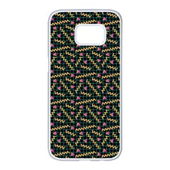 80s 90s Pattern 9 Samsung Galaxy S7 Edge White Seamless Case by tarastyle