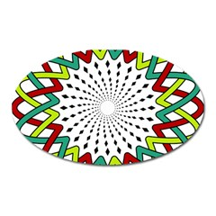 Round Star Colors Illusion Mandala Oval Magnet by Mariart