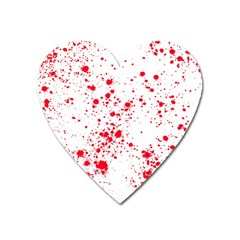 Red And White Splatter Abstract Print Heart Magnet by dflcprintsclothing