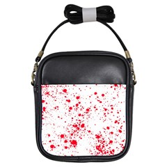 Red And White Splatter Abstract Print Girls Sling Bag by dflcprintsclothing