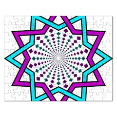 Star Illusion Form Shape Mandala Rectangular Jigsaw Puzzl by Alisyart