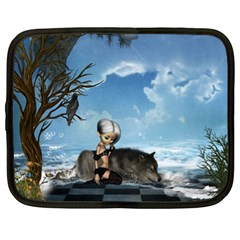 Cute Little Fairy With Wolf On The Beach Netbook Case (xl)