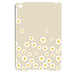 White Daisies Flower Pattern On Vintage Pastel Beige Background Retro Style Apple Ipad Mini 4 Black Frosting Case by genx
