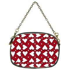 Graphic Heart Pattern Red White Chain Purse (one Side) by Pakrebo