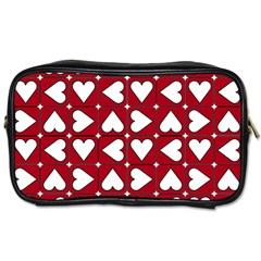 Graphic Heart Pattern Red White Toiletries Bag (one Side)