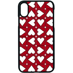 Graphic Heart Pattern Red White Iphone X Seamless Case (black)