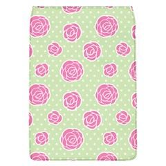 Roses Flowers Pink And Pastel Lime Green Pattern With Retro Dots Removable Flap Cover (l) by genx