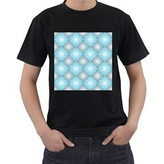 White Light Blue Gray Tile Men s T Shirt (black) (two Sided)