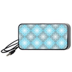 White Light Blue Gray Tile Portable Speaker