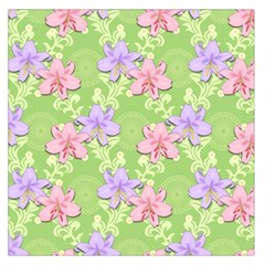 Lily Flowers Green Plant Natural Large Satin Scarf (square)